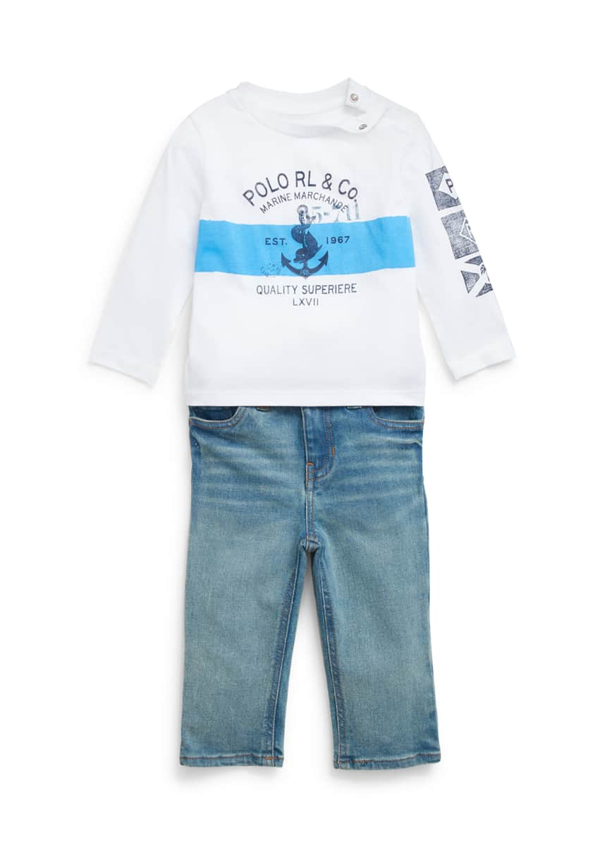 Joules Baby Henry T shirt And Dungarees Set in Chambray Fox