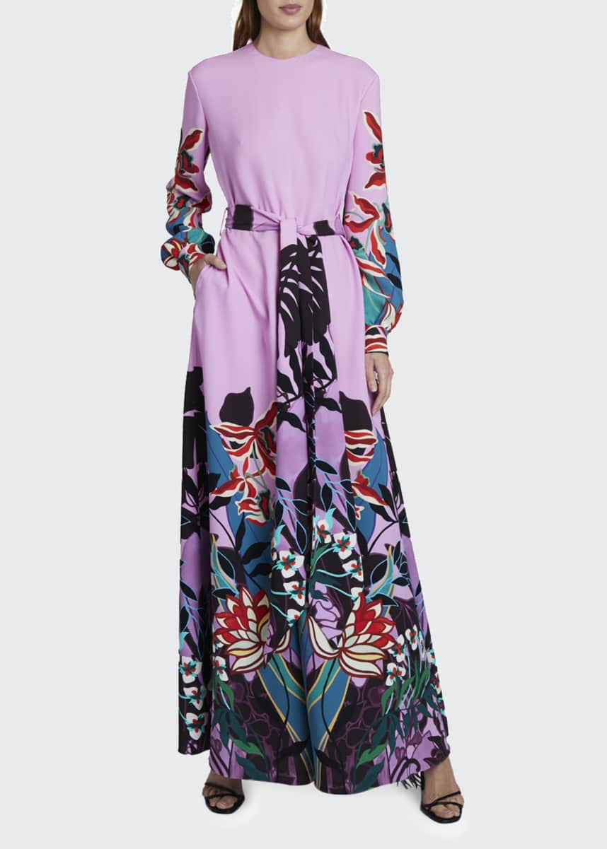 Valentino Placed Floral Print Tie-Waist Jumpsuit