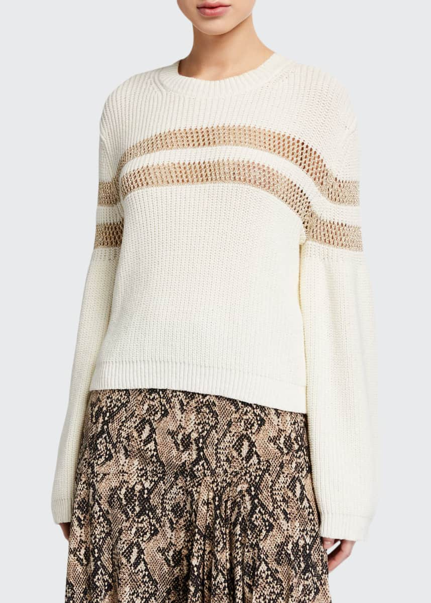 Veronica Beard Georgiana Crewneck Open-Stitch Inset Sweater