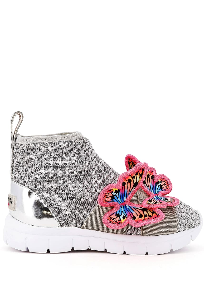 Sophia Webster Riva Knit Mid-Top Sneakers w/ 3D Butterfly Details, Baby/Toddler/Kids