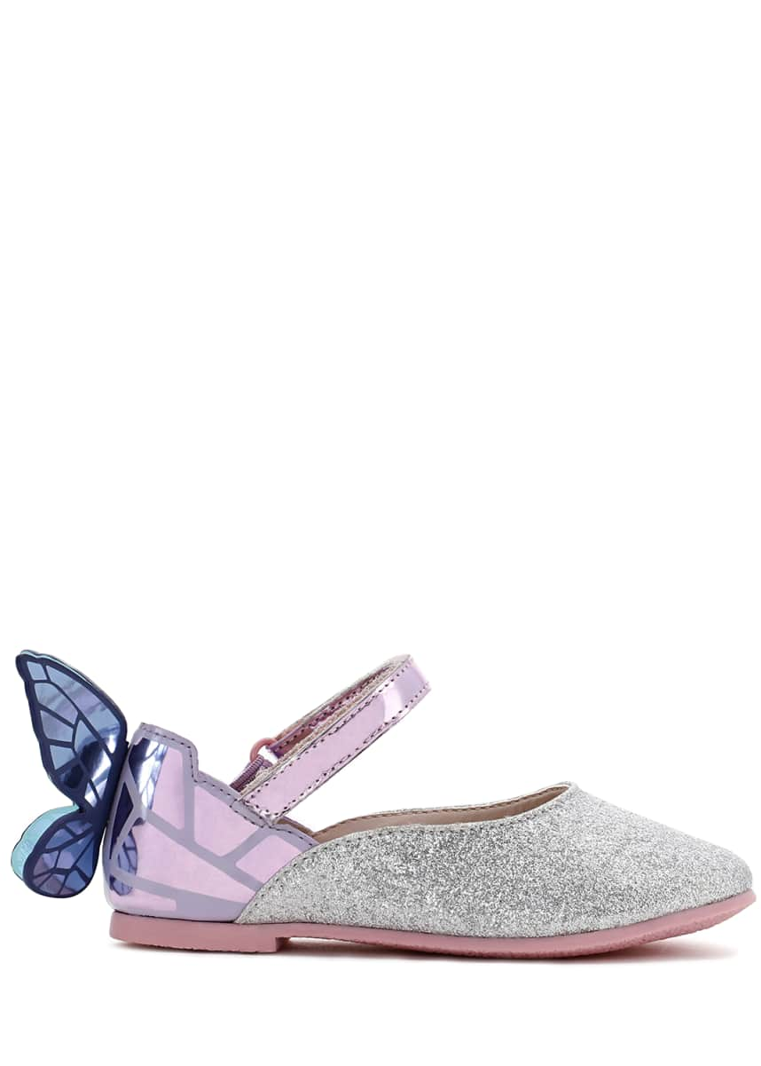 Sophia Webster Chiara Fine Glitter Mirrored Butterfly Mary Jane Flats, Baby/Toddler
