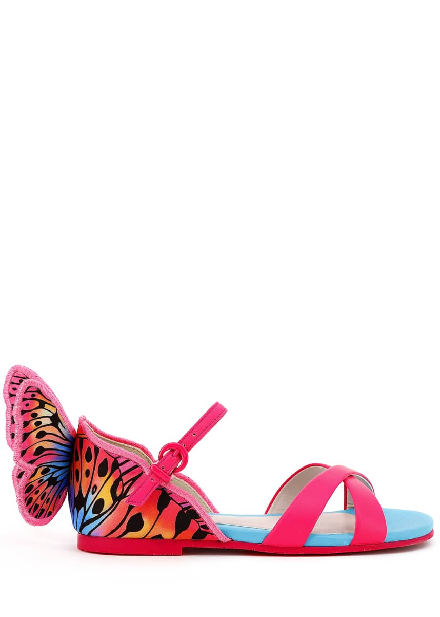 Sophia Webster Chiara Leather Embroidered Butterfly Wing Sandals, Toddler/Kids