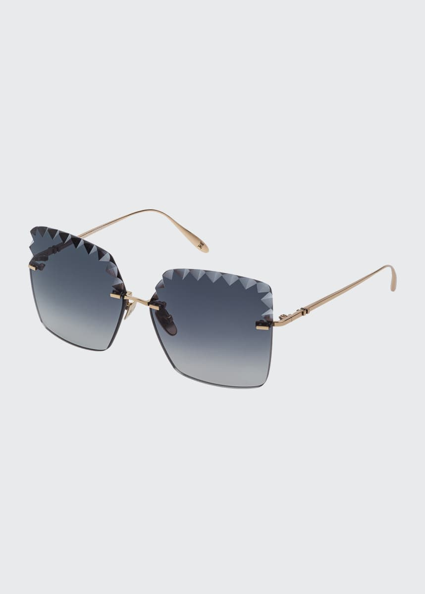 Carolina Herrera Laser-Cut Titanium Sunglasses
