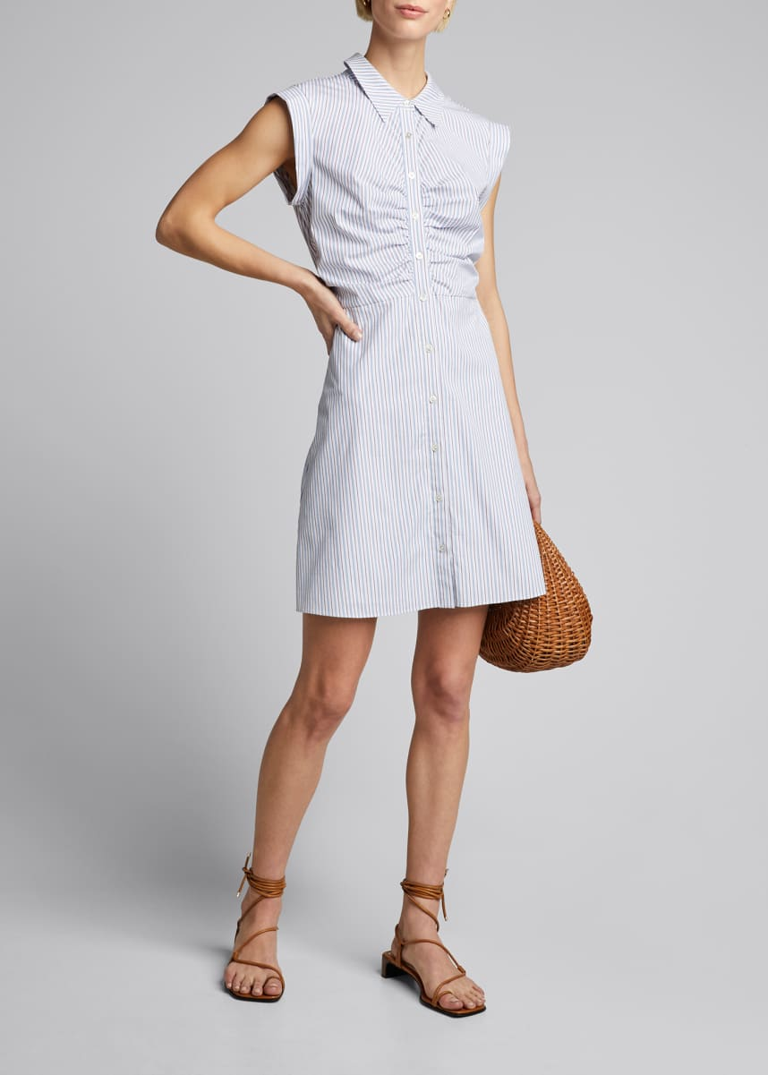 Veronica Beard Ferris Striped Button-Down Dress