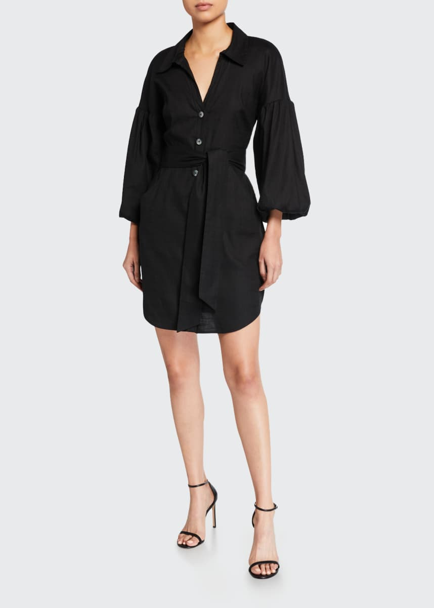 Veronica Beard Samy Blouson-Sleeve Shirtdress
