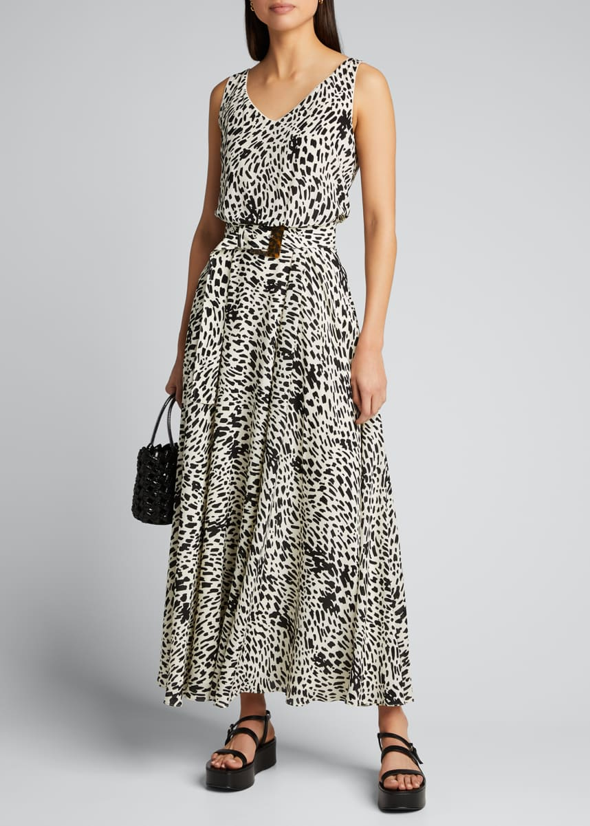 Lafayette 148 New York Memphis Cheetah Print Sleeveless Silk Dress