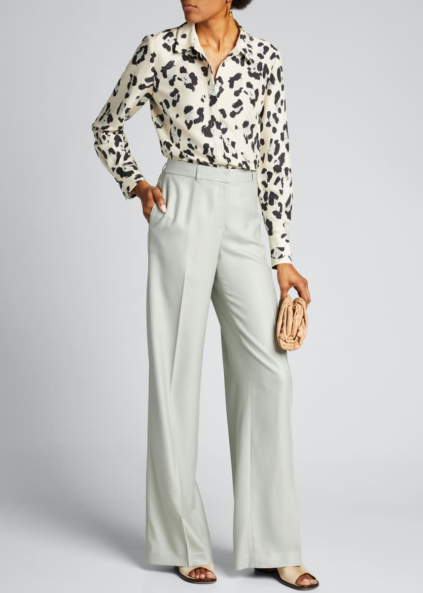 Lafayette 148 New York Scottie Painted Leopard Print Silk Button-Down Blouse