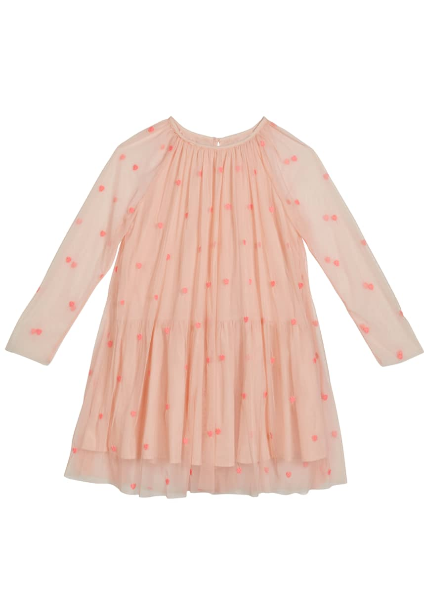 Stella McCartney Kids Girl's Embroidered Hearts Long-Sleeve Tulle Dress, Size 4-14