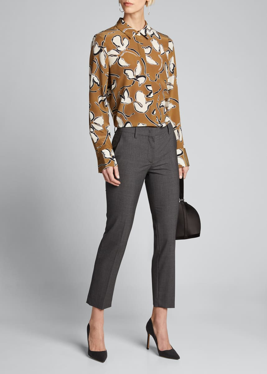 Lafayette 148 New York Scottie Tossed Vine Printed Blouse