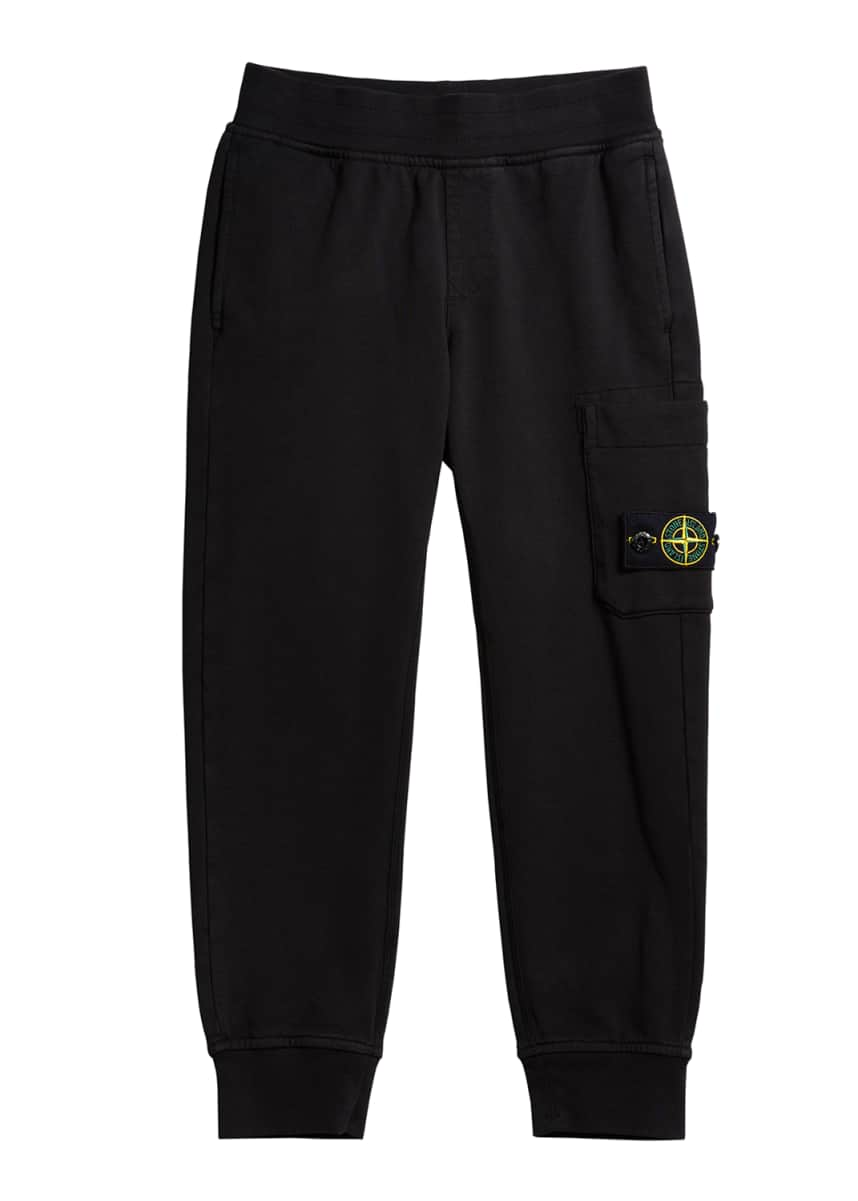 Stone Island Boy's Fleece Sweatpants with Cargo Pocket, Size 2-4