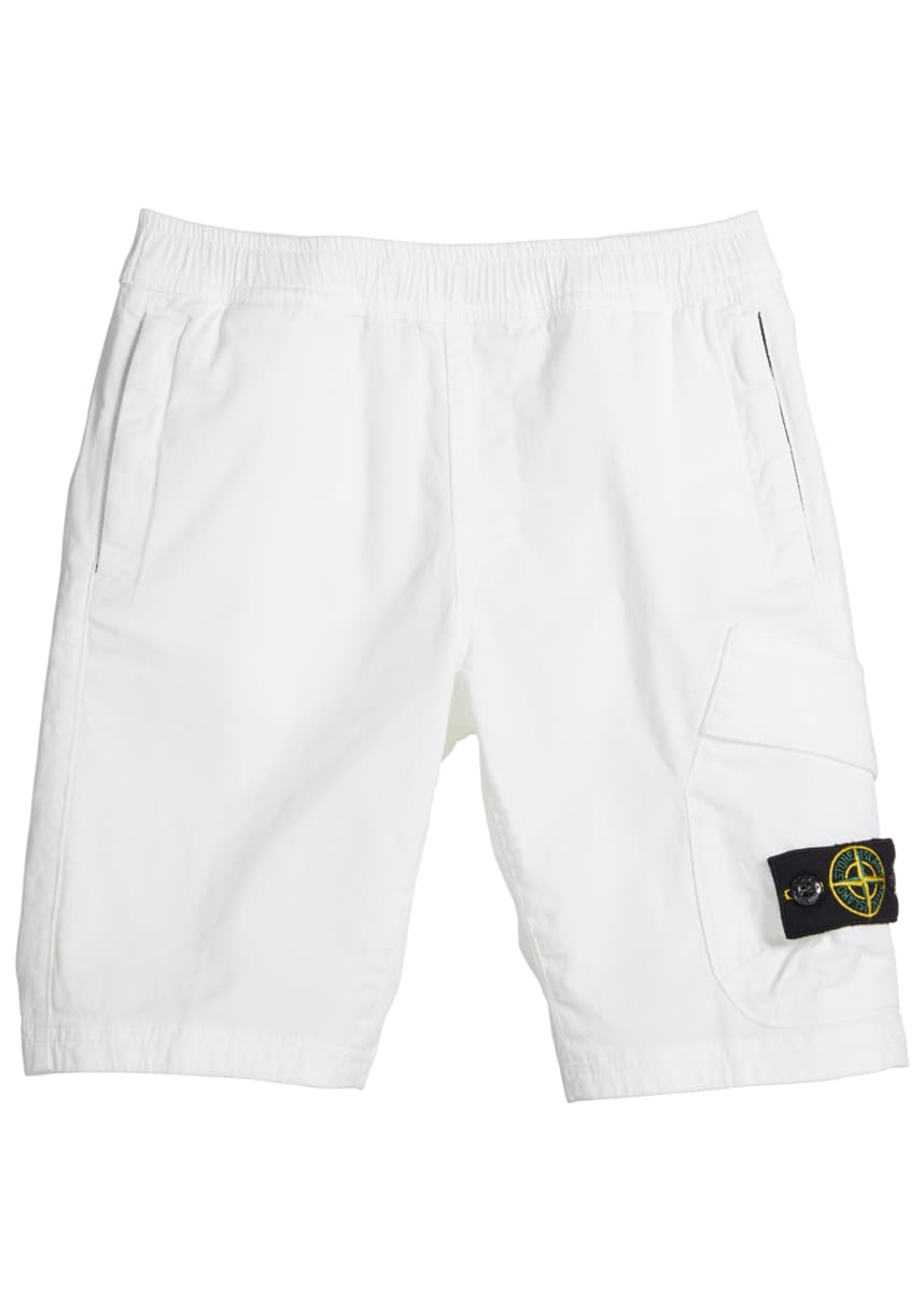 Stone Island Boy's Pull-On Canvas Cargo Shorts, Size 2-4
