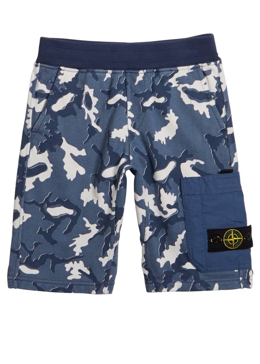 Stone Island Boy's Camo Fleece Cargo Shorts, Size 2-4