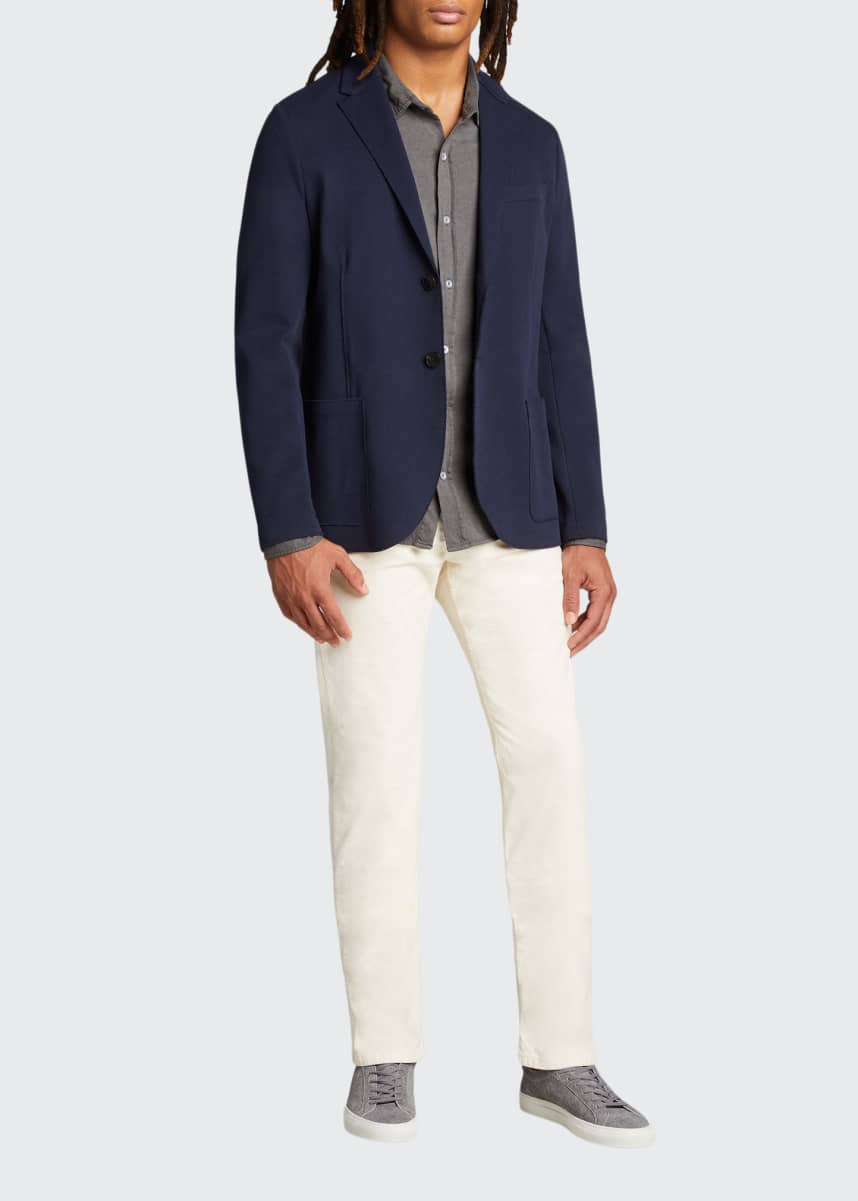 Harris Wharf London Men's Pique Blazer with Elbow Patches