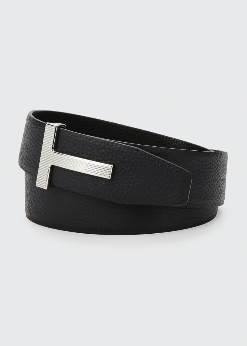 TOM FORD Men's Ridged T-Buckle Reversible Leather Belt