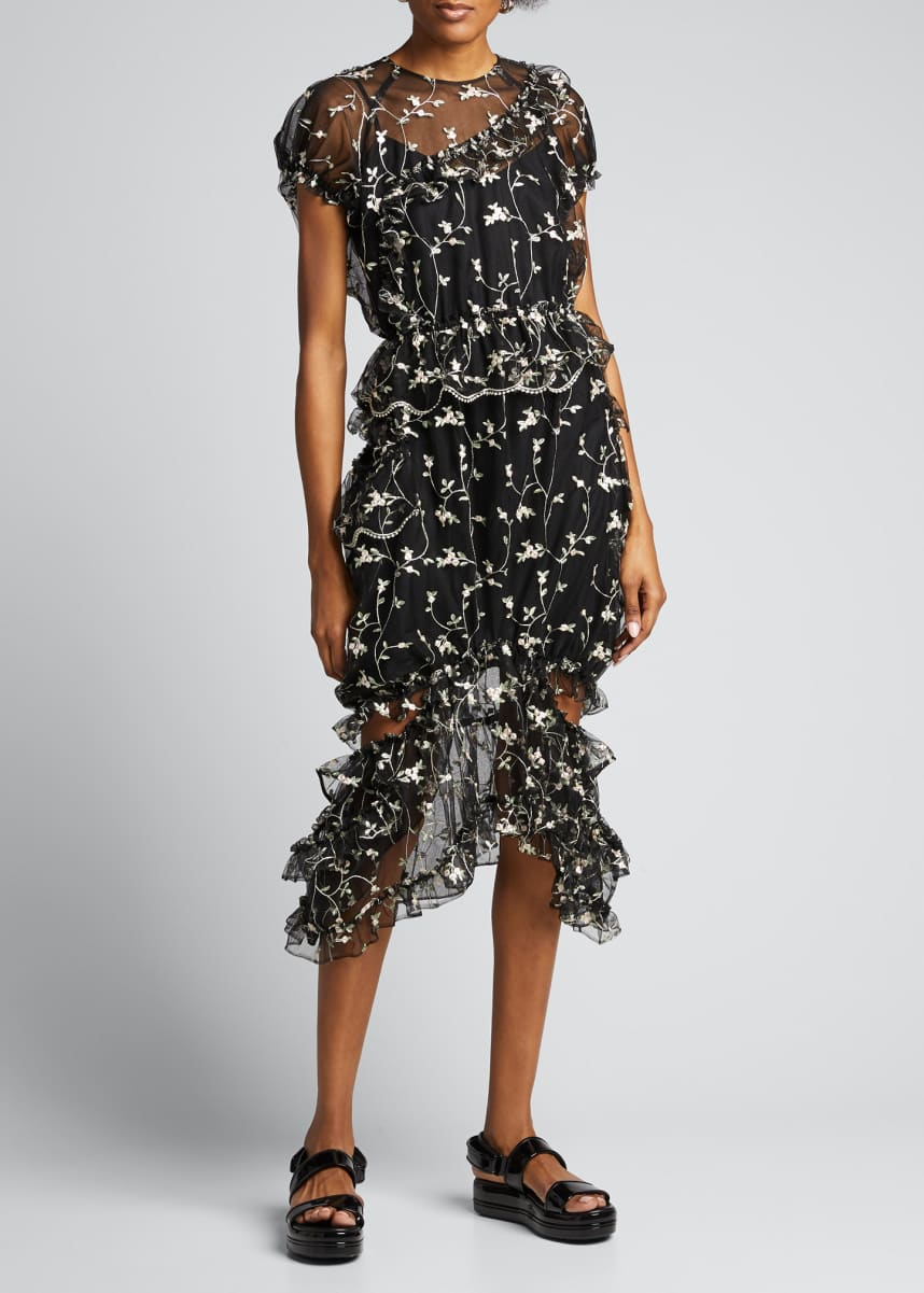 Simone Rocha Floral Print Chiffon Puff-Sleeve Dress