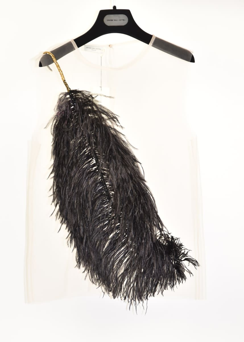 Dries Van Noten Sheer Sleeveless Shirt with Feather Detail