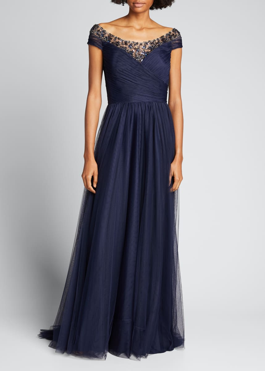 Jenny Packham Off-Shoulder Beaded Tulle Gown