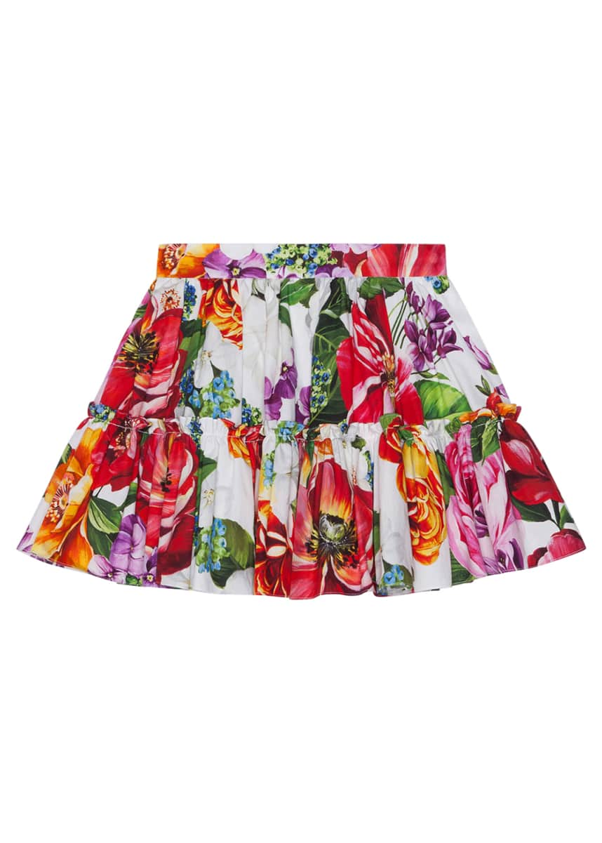 Dolce & Gabbana Girl's Blooming Floral Print Tiered Skirt, Size 4-6