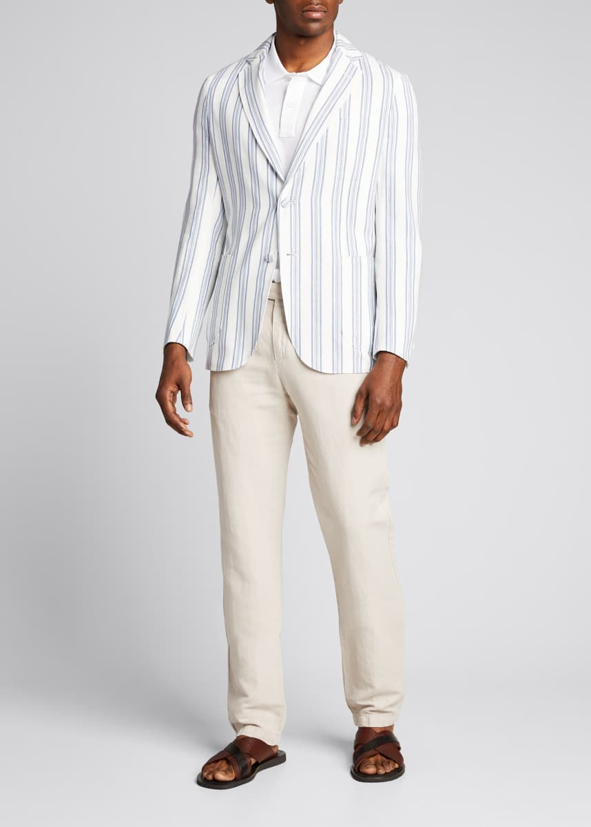 Brioni Men's Striped Cotton-Linen Sport Jacket