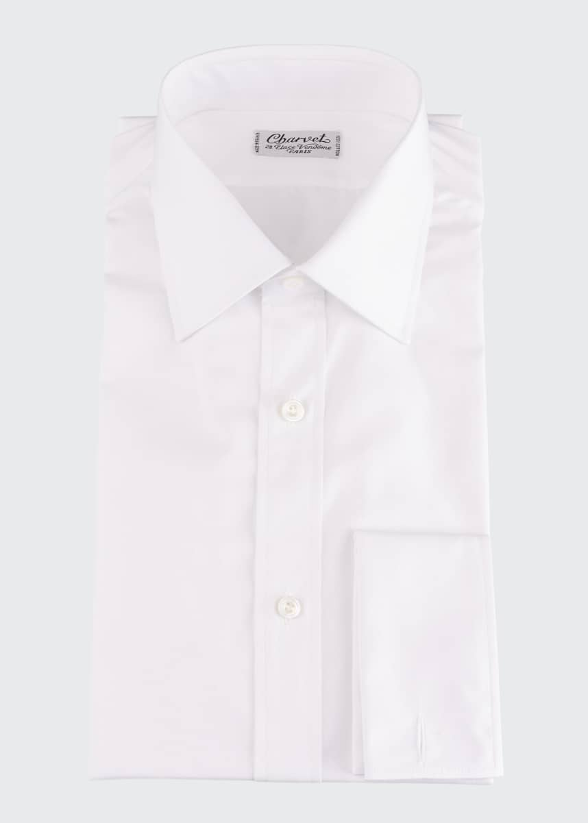 Charvet Men's Basic Solid Point-Collar Dress Shirt with French Cuffs
