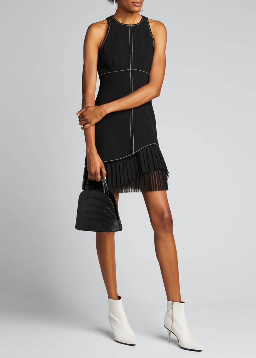 cinq a sept Cathy Sleeveless Crepe Dress with Pleating