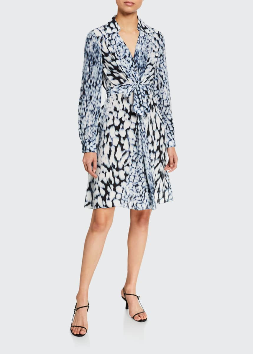 Elie Tahari Saxton Abstract Long-Sleeve Georgette Dress