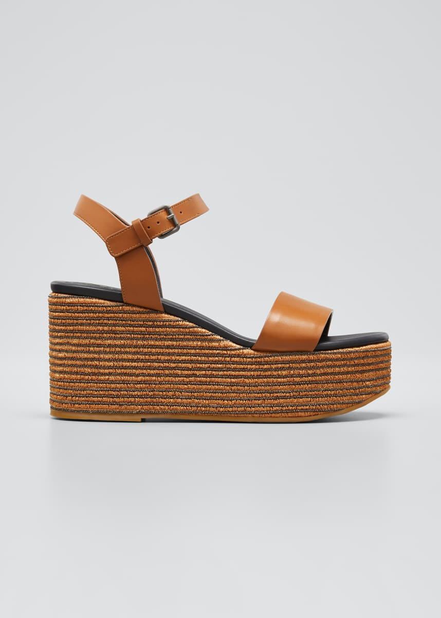 Brunello Cucinelli Leather Monili Ankle-Strap Espadrilles