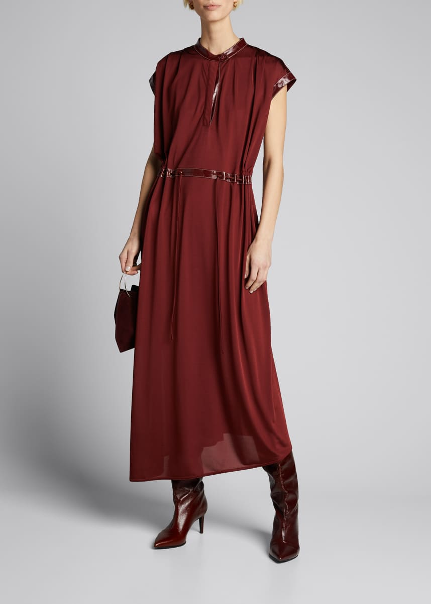 Sies Marjan Cap-Sleeve Jersey Midi Dress