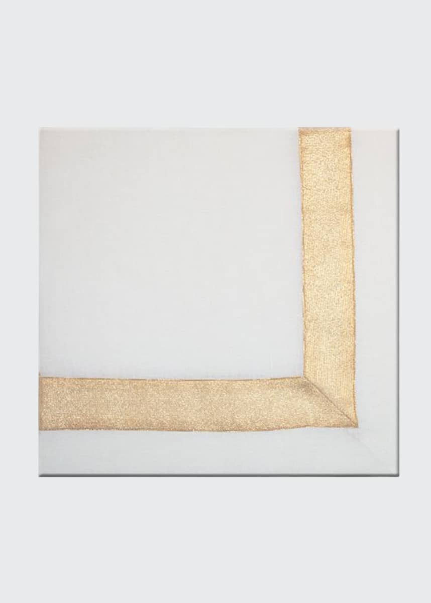 Nomi K Gold Shimmer White New Border Napkin