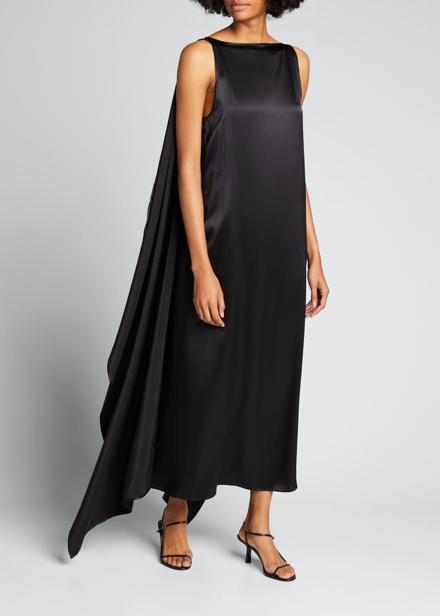 BERNADETTE Judy Satin Draped Sleeveless Dress