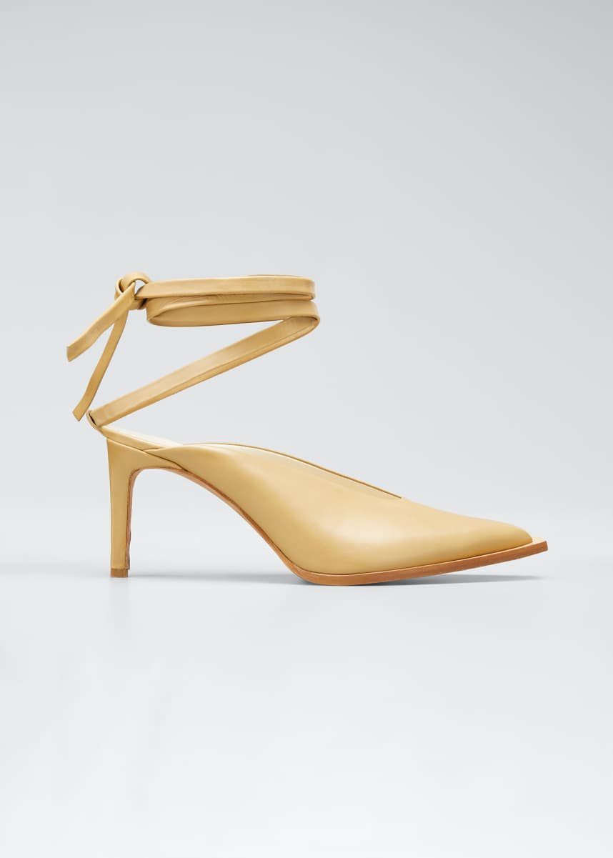 Tibi Neima Leather Ankle-Tie Pumps