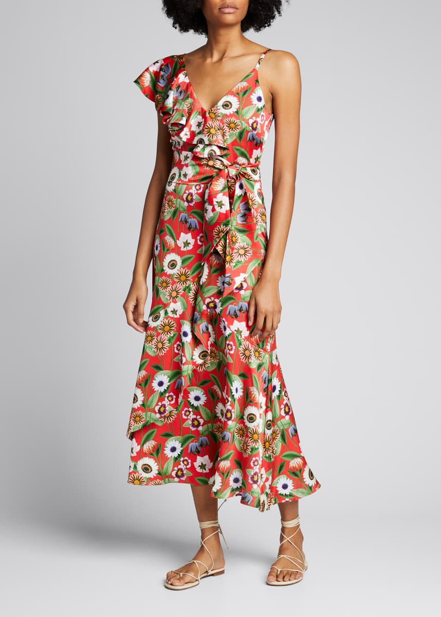 Borgo de Nor Isadora Floral Crepe De Chine Ruffle Dress