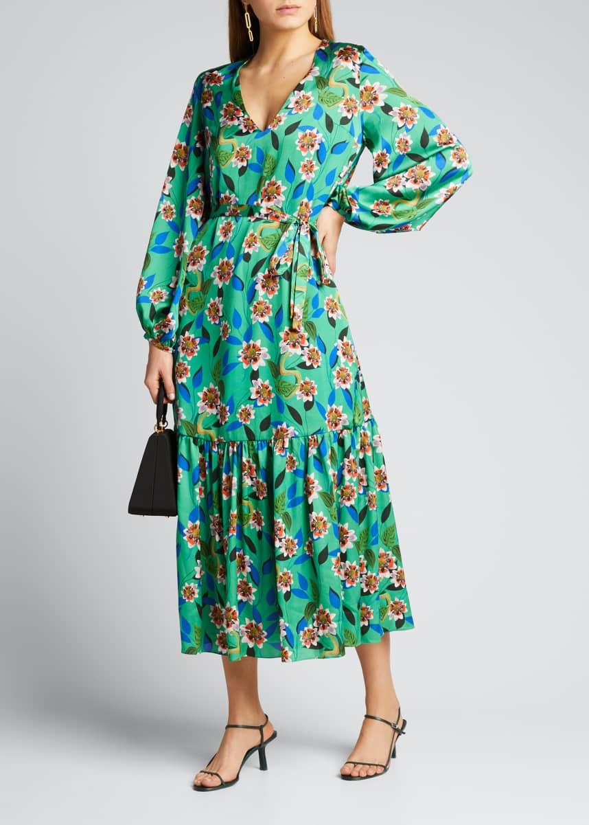 Borgo de Nor Marita Floral-Print Silk Twill Dreaming Dress