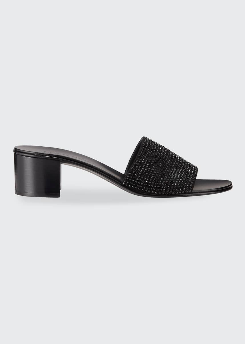 Giuseppe Zanotti Crystal Suede Slide Sandals