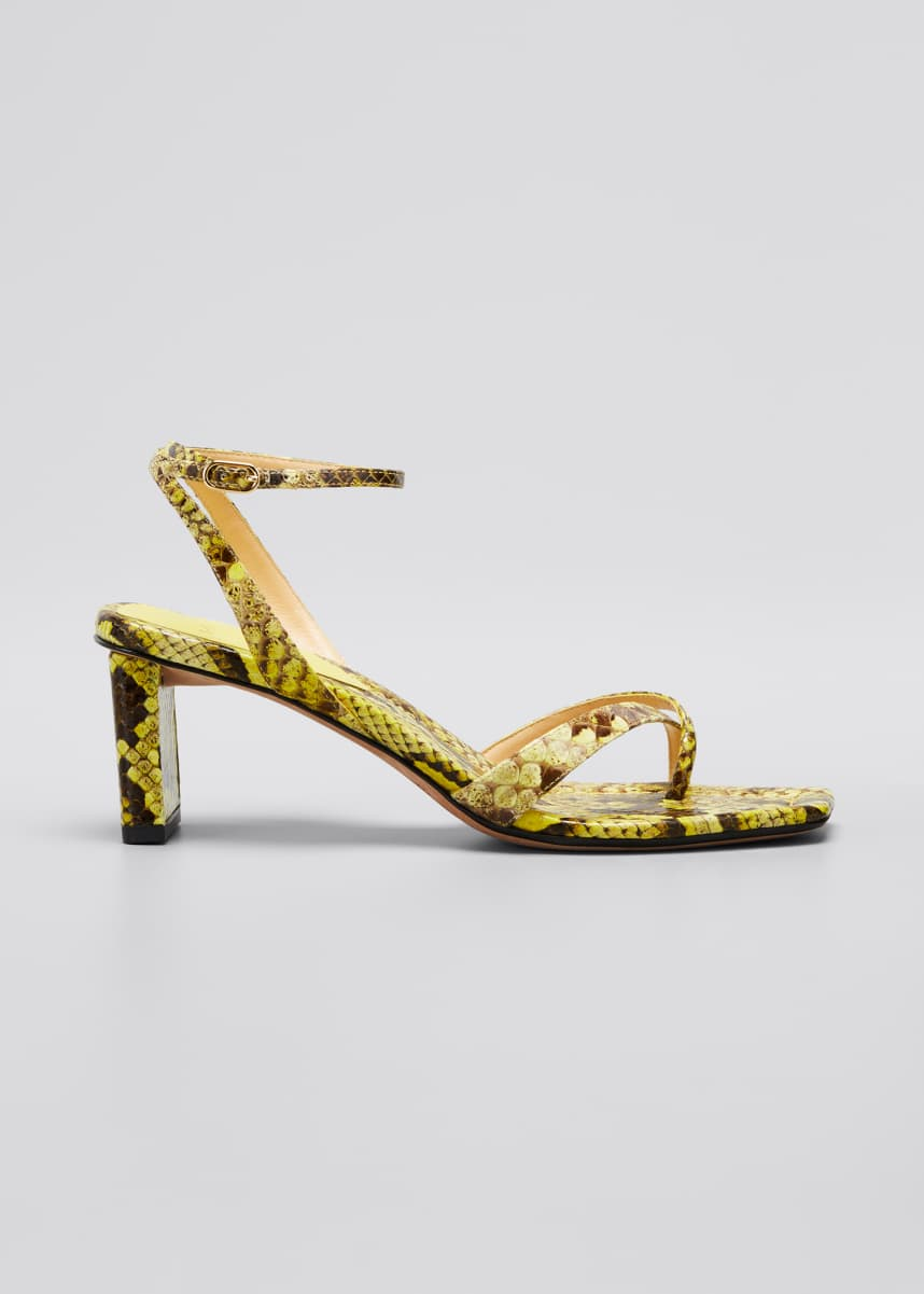 Alexandre Birman Nelly Python Ankle-Strap Sandals