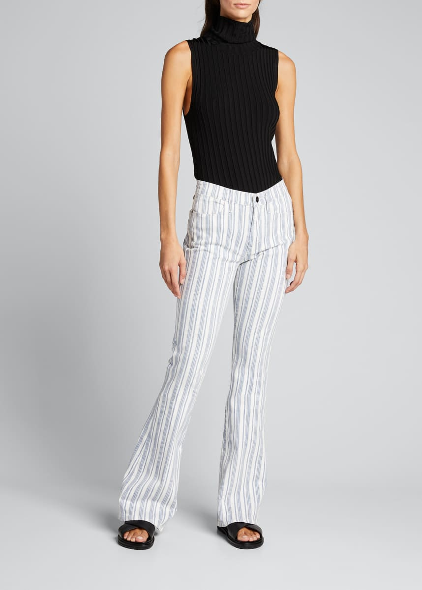 FRAME Le High Flare Surfer Striped Jeans