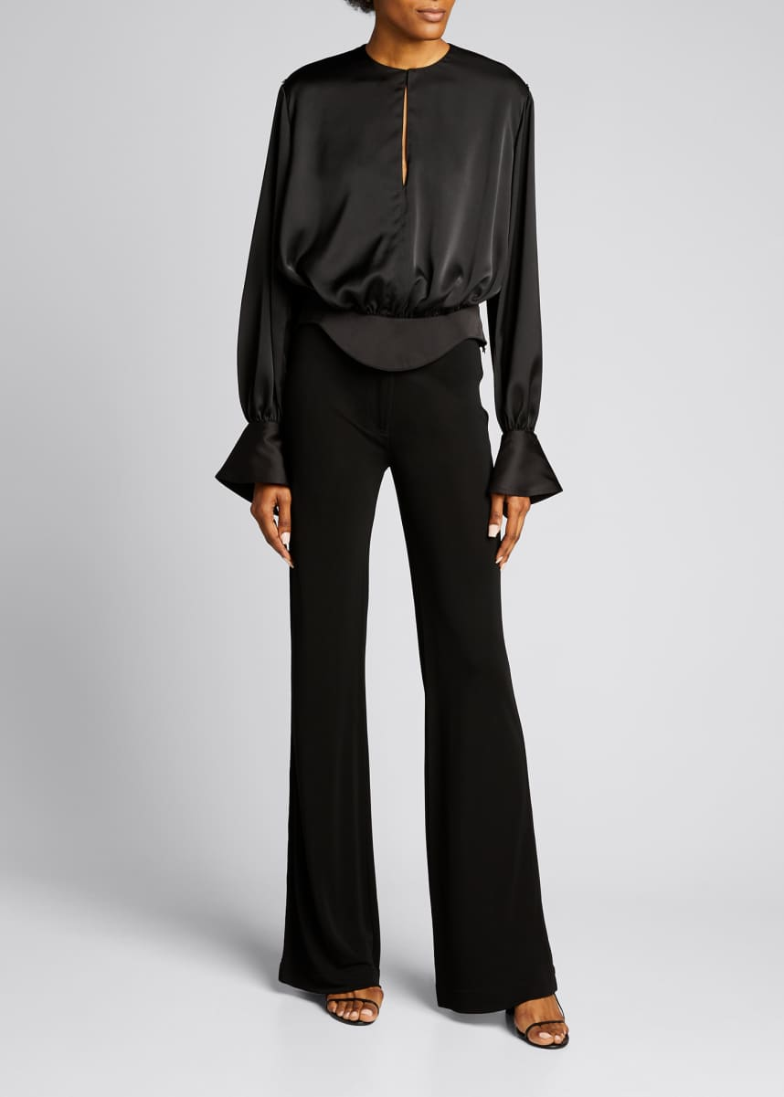 Mugler Crewneck Long-Sleeve Peplum Satin Top