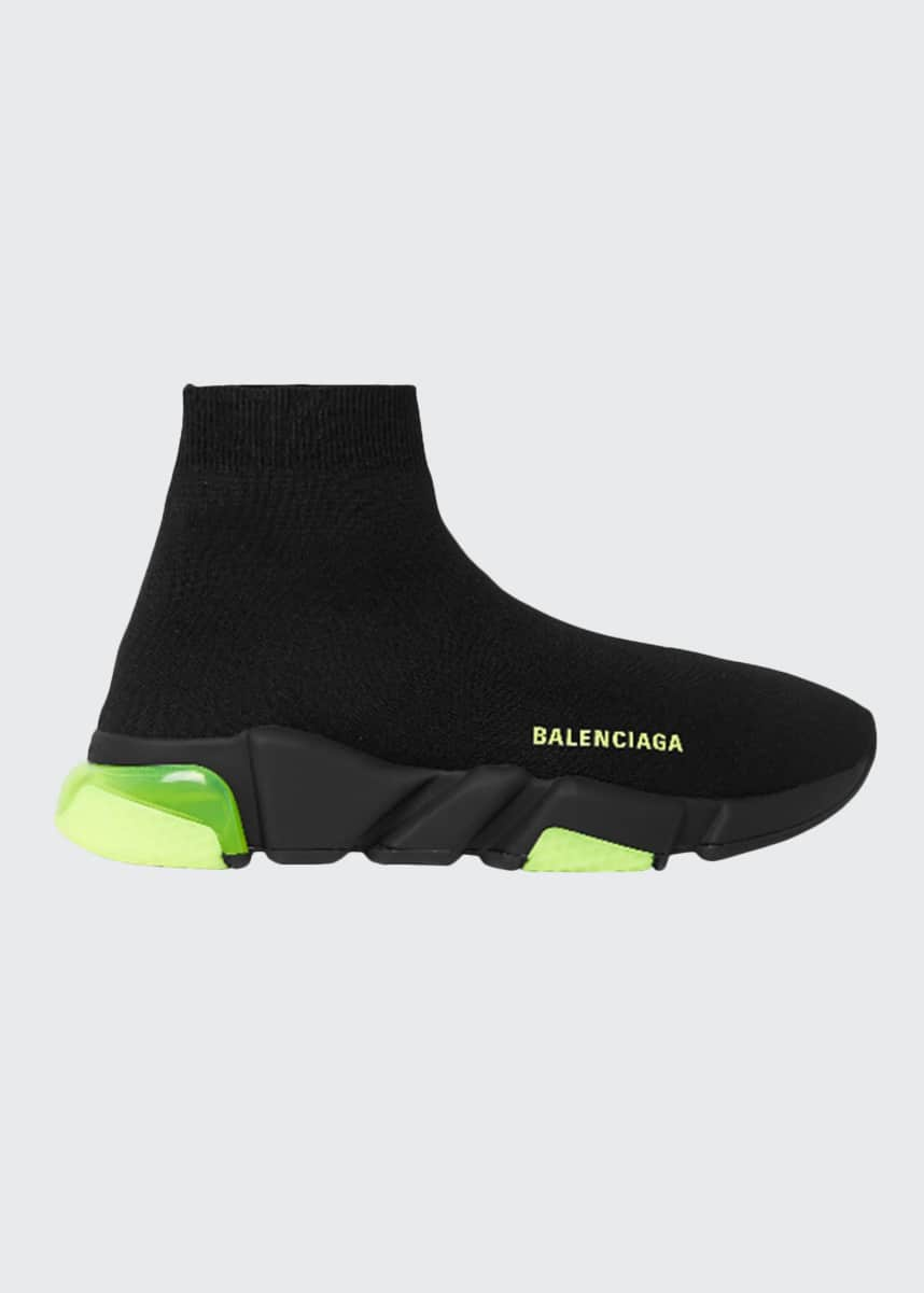 Balenciaga Men's Speed Clear-Sole Sock Sneaker w/ Neon