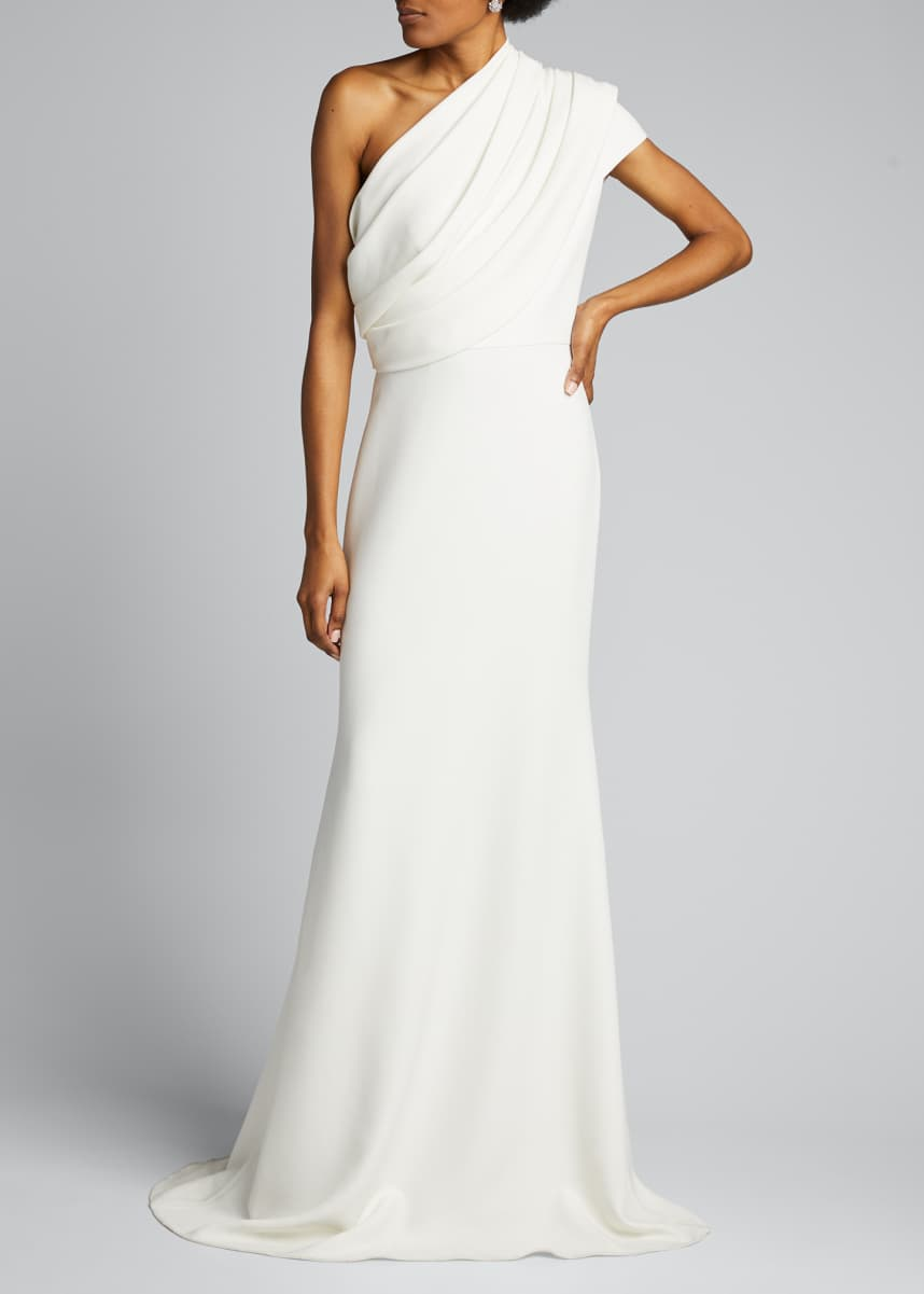 Badgley Mischka Collection One-Shoulder Asymmetric Sleeve Crepe Gown