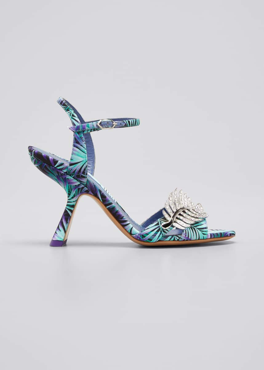 Nicholas Kirkwood Monstera Silk Slide Mules