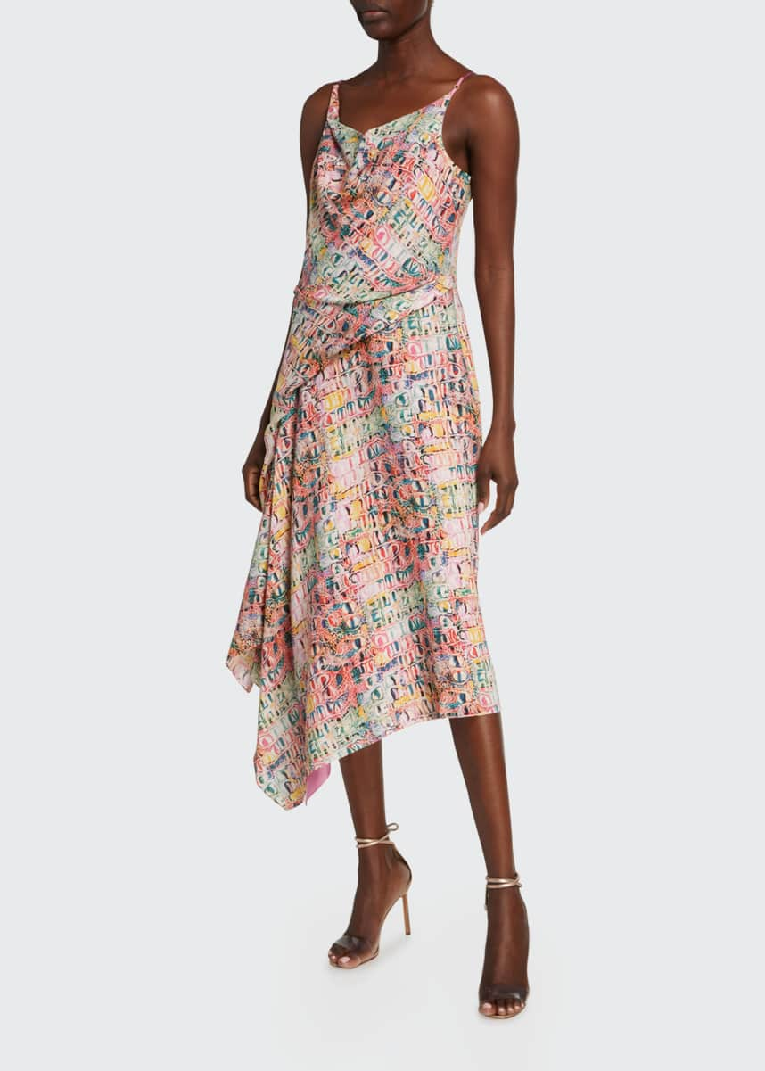 Sies Marjan Farrah Croco Printed Crepe Cocktail Midi Dress