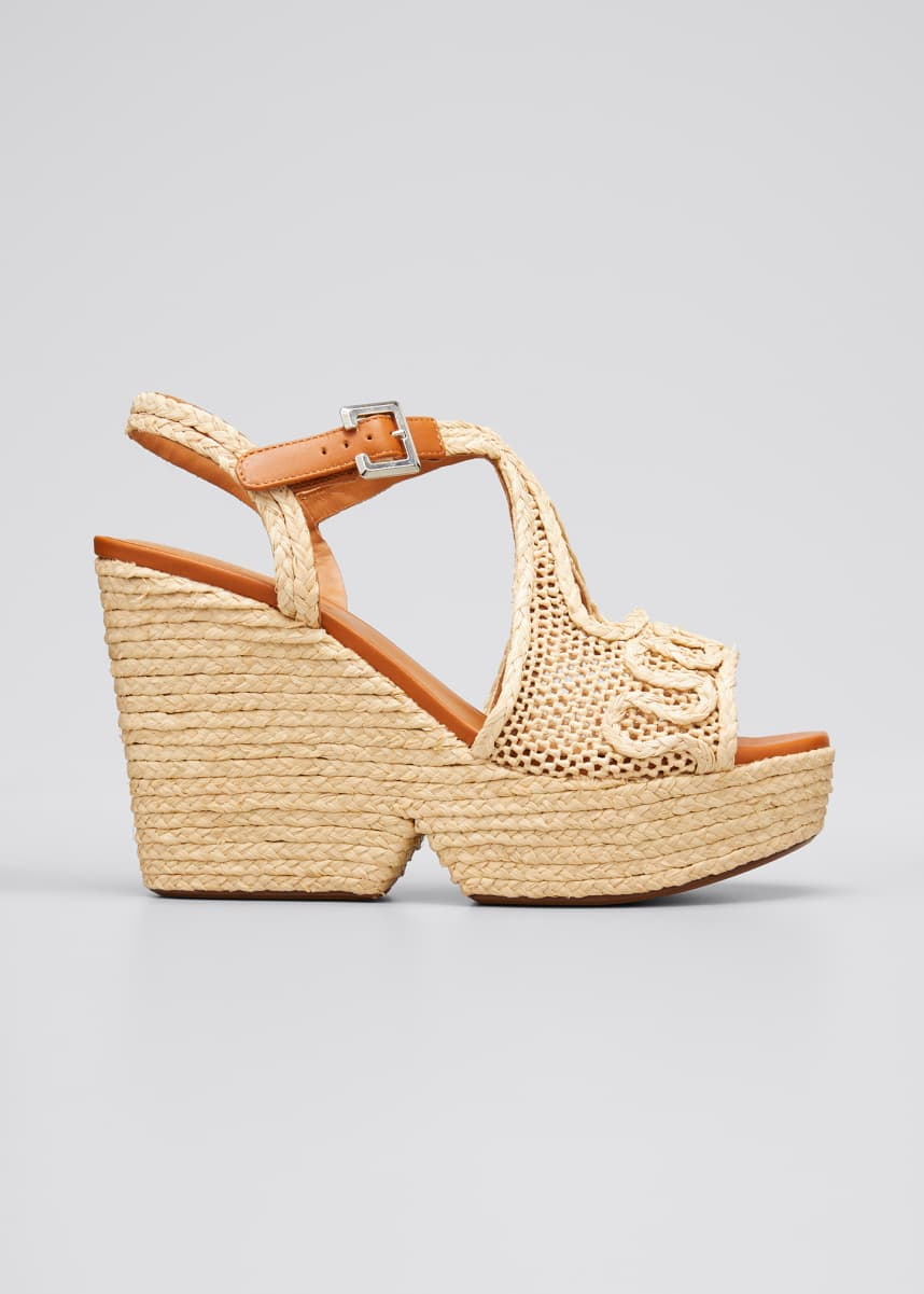 Clergerie Paris Doloria Raffia Wedge Espadrille Sandals