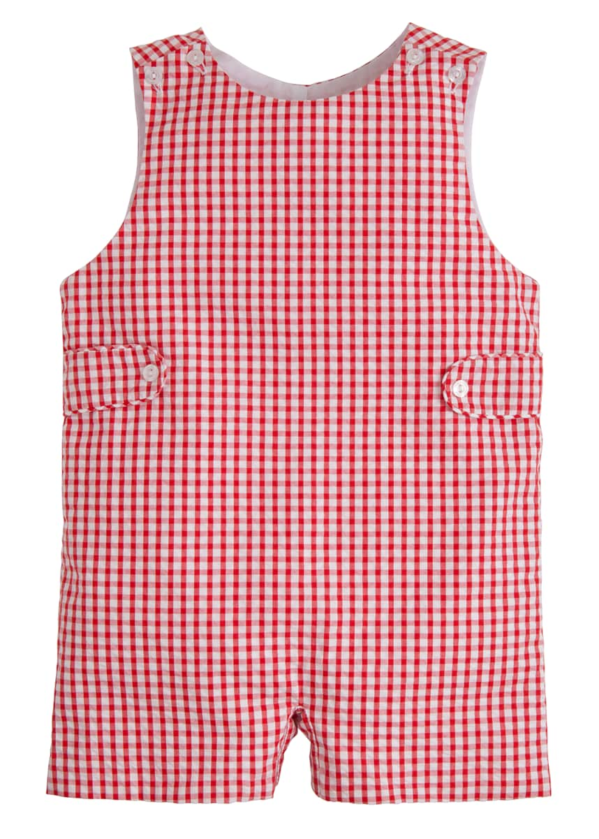 Little English Red Gingham Button Tab Romper, Size 12M-3T