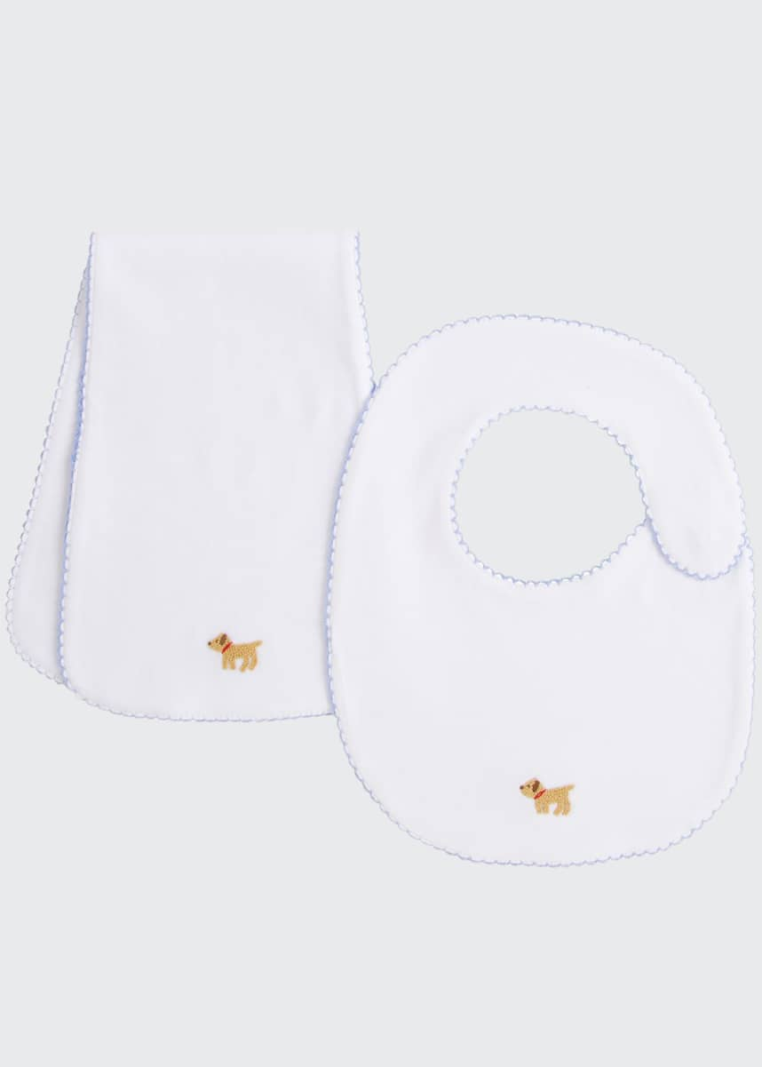 Little English Boy's Pinpoint Bib & Burp Cloth Set