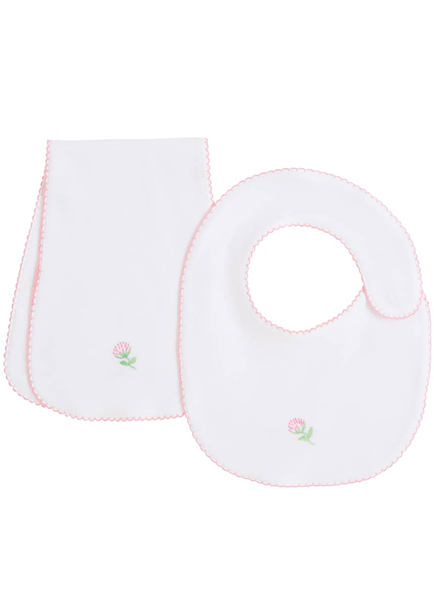 Little English Girl's Pinpoint Bib & Burp Cloth Set