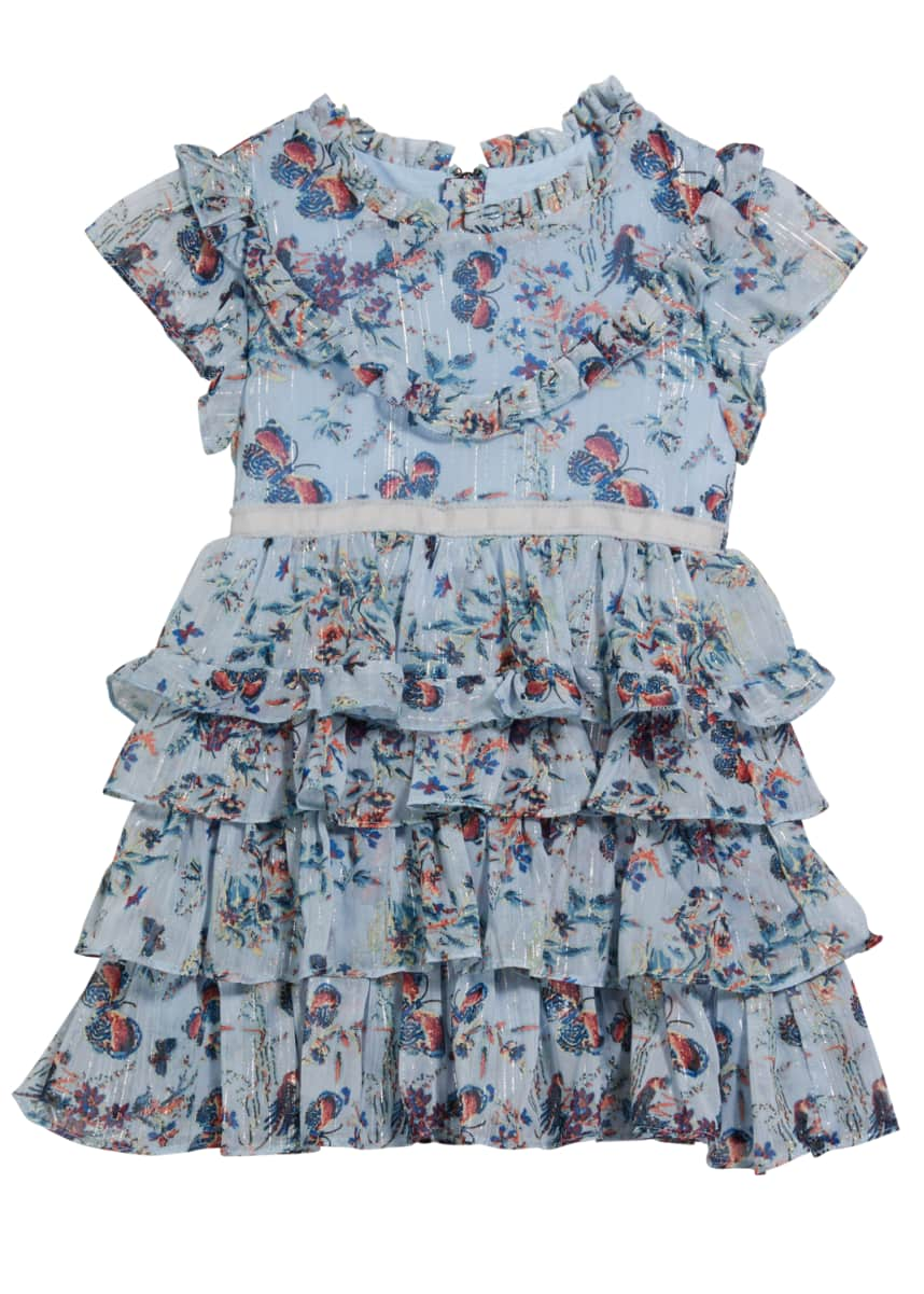 Imoga Girl's Serenity Tiered Butterfly-Print Dress, Size 7-14