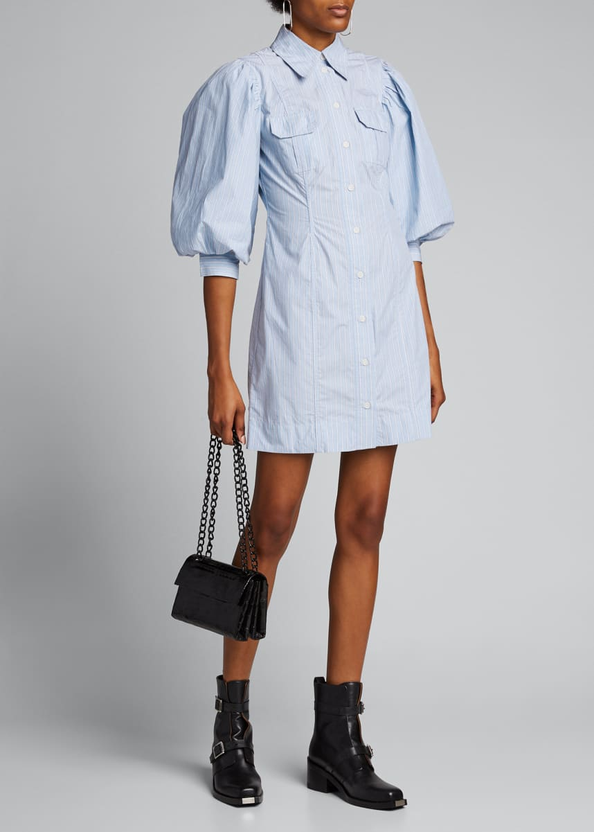 Ganni Striped Puff-Sleeve Button-Down Dress