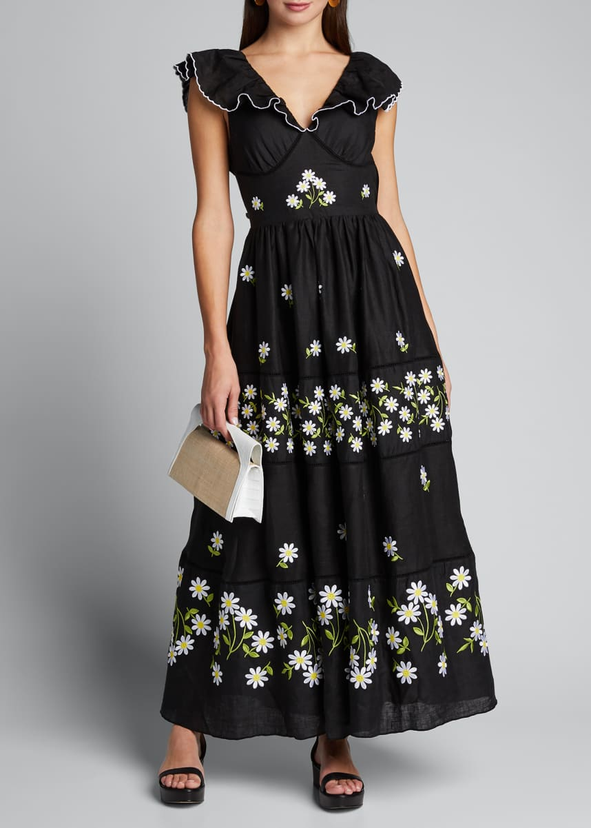 Gul Hurgel Embroidered Sleeveless V-Neck Maxi Dress