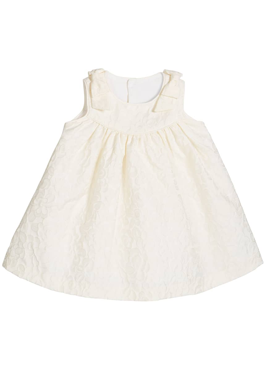Luli & Me Girl's Ivory Dress with Bow Shoulders, Size 3-18 Months