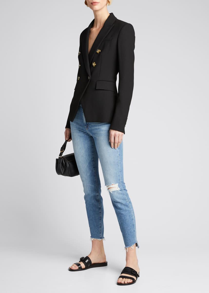 MOTHER The Looker Frayed Step-Hem Ankle Jeans